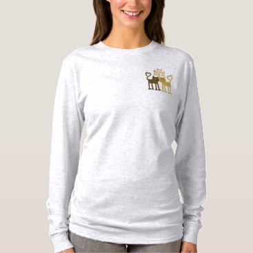 Bride Themed Love Cats Embroidered Long Sleeve T-Shirt