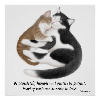 Love Cats Ephesians 4:2 Inspirational Print
