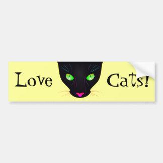 Love Cats! Fluorescent Green Cat Eyes Portrait Bumper Sticker