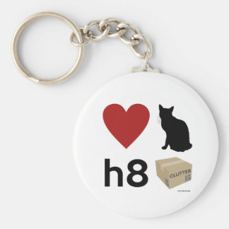 'Love Cats Hate Clutter' Keychain