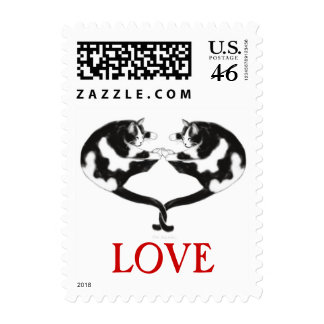 Love Cats Heart Postage