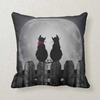Love Cats in Moonlight Throw Pillow