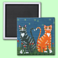 Love Cats Magnet - Nothing sweeter than two tabbies in love!