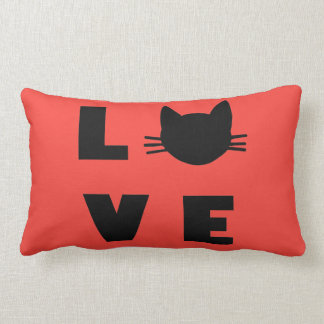 Love Cats (red) Lumbar Pillow