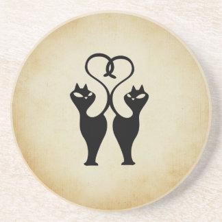 Love cats sandstone coaster