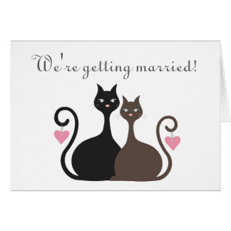 Love Cats Save The Date Announcement Folded Card