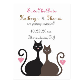 Love Cats Save The Date Announcement Postcard2 Postcards