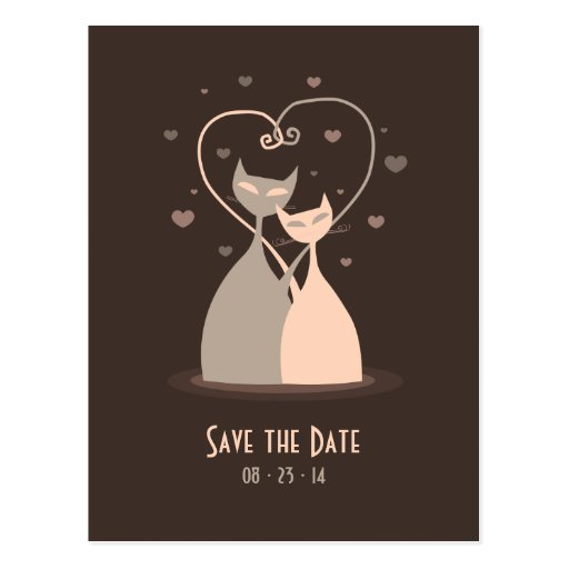 Love Cats - Save the date postcard