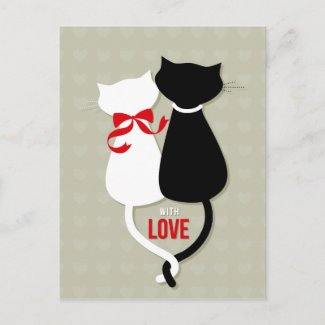 Love Cats Valentine Holiday Postcard