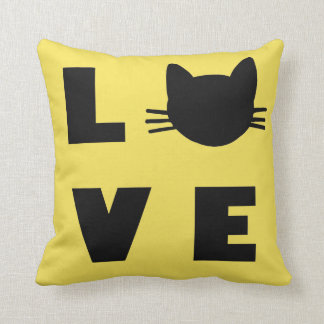 love cats yellow throw pillow