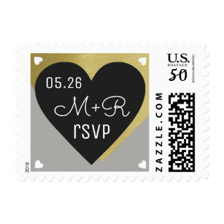love celebration black heart rsvp wedding postage