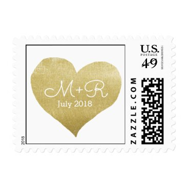 Beach Themed love celebration personalized gold heart postage