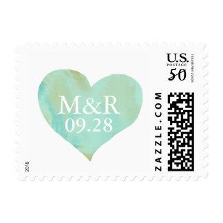 love celebration personalized mint-green heart postage
