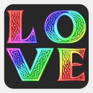 LOVE - Celtic Lettering Square Sticker