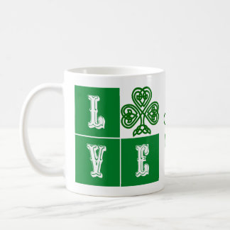 Love Celtic Shamrock Hearts Ireland Motto Coffee Mug