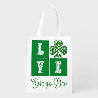 Love Celtic Shamrock Hearts Ireland Motto Reusable Grocery Bag
