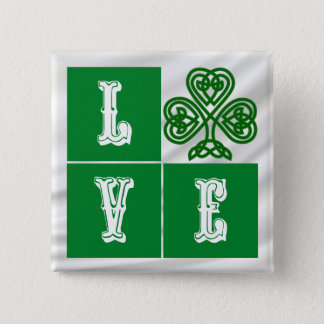 Love Celtic Shamrock Hearts over Satin Pinback Button