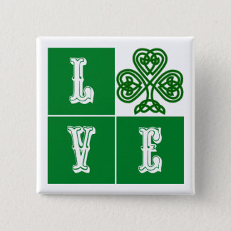 Love Celtic Shamrock Hearts Pinback Button