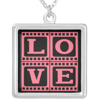 LOVE Charm on Silver Necklace