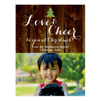 Love/Cheer Christmas Holiday Photo Postcard