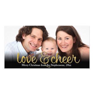 Love Cheer Glitter Shiny Effect Christmas Card