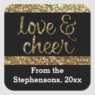 Love + Cheer Glitter Shiny Effect Christmas Square Sticker