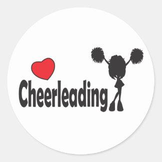 Love Cheerleading Classic Round Sticker