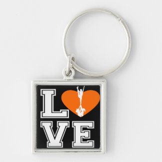 Love Cheerleading Silver-Colored Square Keychain