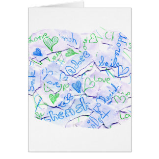 Love Cherish Adore Purple and Green Collage Square Greeting Card