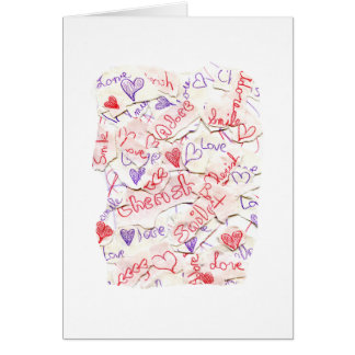 Love Cherish Adore Red and Purple Collage Stationery Note Card