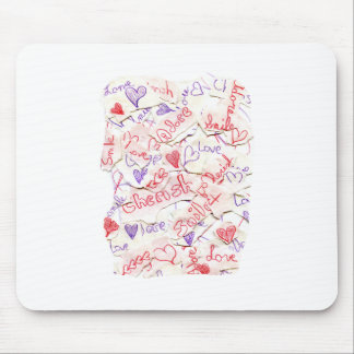 Love Cherish Adore Red and Purple Collage Mousepad