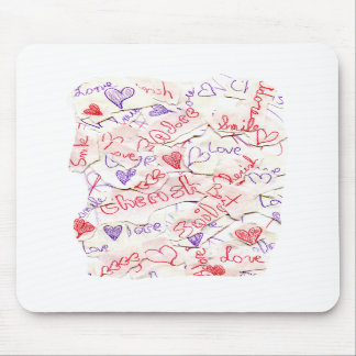 Love Cherish Adore Red and Purple Collage Mouse Pads