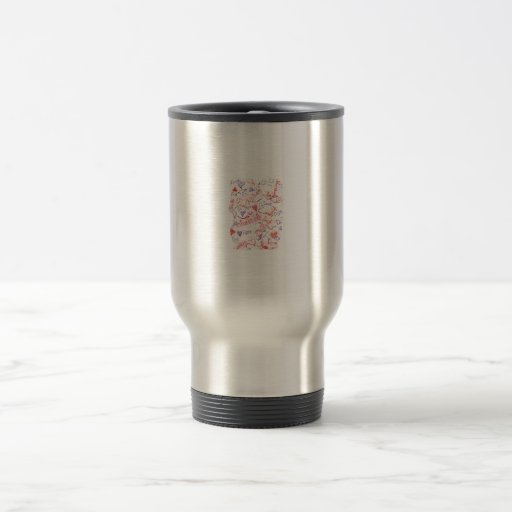 Love Cherish Adore Red and Purple Collage 15 Oz Stainless Steel Travel Mug