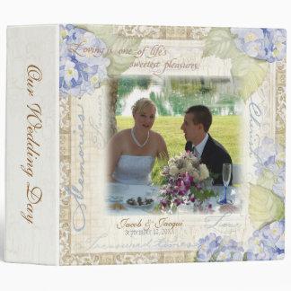 Love & Cherish Blue Hydrangea Floral Wedding 3 Ring Binder