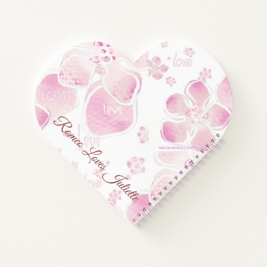 Love Cherry Blossoms Heart-Shaped Spiral Notebook