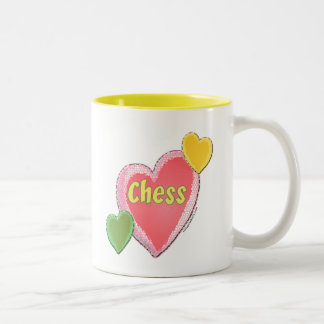 Love Chess Hearts Two-Tone Coffee Mug