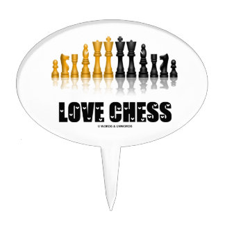 Love Chess Reflective Chess Set Love Letters Font Cake Topper