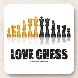 Love Chess Reflective Chess Set Love Letters Font Beverage Coasters