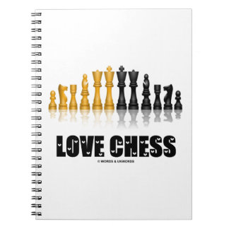 Love Chess Reflective Chess Set Love Letters Font Spiral Notebook