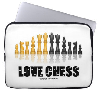 Love Chess (Reflectve Chess Set Love Letters Font) Computer Sleeve