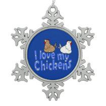 Love Chickens Snowflake Ornament