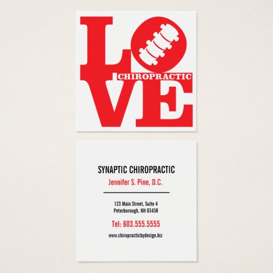 LOVE Chiropractic Square Chiropractor Square Business Card