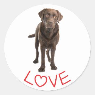 Love Chocolate Brown Labrador Retriever Puppy Dog Classic Round Sticker