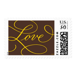 Love . Chocolate Gold Calligraphy Postage
