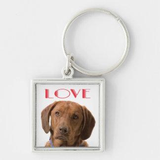 Love Chocolate Labrador Retriever Dog Keychain