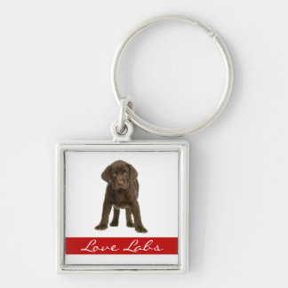 Love Chocolate Labrador Retriever Puppy Keychain
