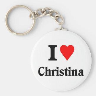 Love christina basic round button keychain