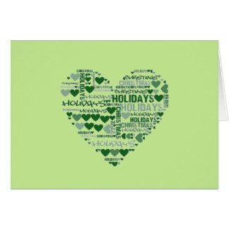 Love Christmas Holidays Red Green Double Heart Card