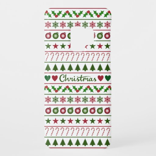 Love Christmas Motifs Pattern Green White Red Case-Mate Samsung Galaxy S9 Case