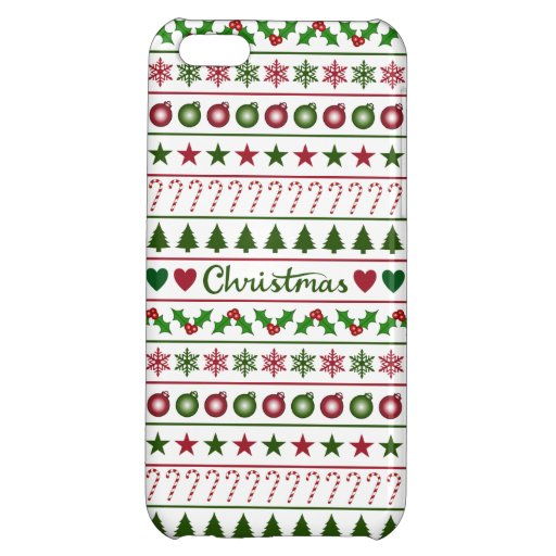 Love Christmas Motifs Pattern Green White Red Case For iPhone 5C
